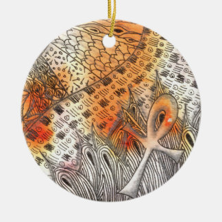Tarot Symbol Ankh Round Ceramic Ornament