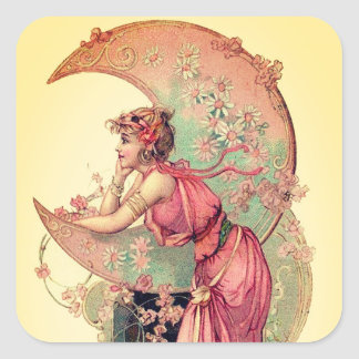 TAROTS/ LADY OF MOON WITH FLOWERS PINK YELLOW SQUARE STICKER