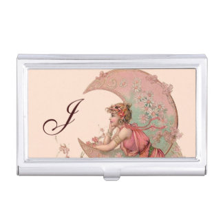 TAROTS/LADY OF THE MOON FLOWERS IN PINK MONOGRAM BUSINESS CARD HOLDER