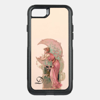 TAROTS/ LADY OF THE MOON,FLOWERS IN PINK MONOGRAM OtterBox COMMUTER iPhone 7 CASE