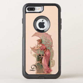 TAROTS/ LADY OF THE MOON,FLOWERS IN PINK MONOGRAM OtterBox COMMUTER iPhone 7 PLUS CASE