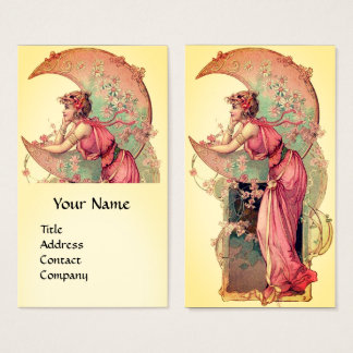 TAROTS / LADY OF THE MOON WITH FLOWERS Pink Yellow Business Card