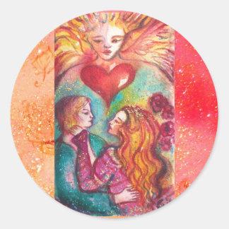 TAROTS LOST SHADOWS,LOVERS Valentine's Day Heart Classic Round Sticker