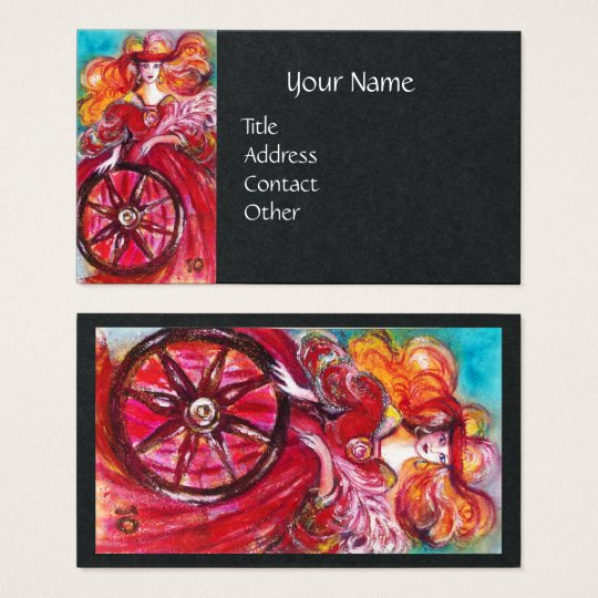 TAROTS OF LOST SHADOWS Wheel Of Fortune Black Business Card