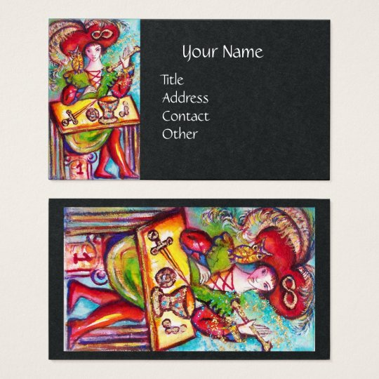 TAROTS OF THE LOST SHADOWS, MAGICIAN Black Paper Business Card