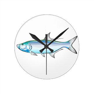 Tarpon Ocean Gamefish illustration vector Round Clock