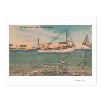 Tarpon Springs, FL - View of Boat & Deep Sea Postcard