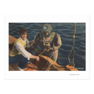 Tarpon Springs, FL - View of Diver Ascending Boa Postcard