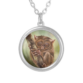 Tarsier Primate Silver Plated Necklace