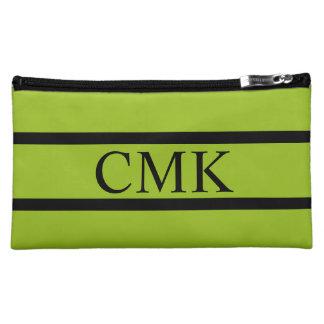 Tart Apple Green and Black Stripe Monogram Cosmetic Bag