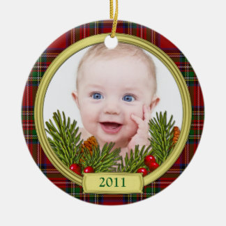 Tartan Baby's First Christmas Photo Ornament