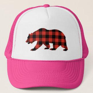 Tartan bear trucker hat