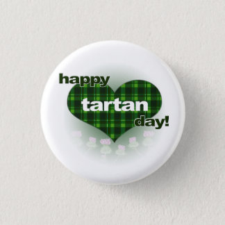 """Tartan Day """"Heart and Thistles"""" 1 Inch Round Button"""