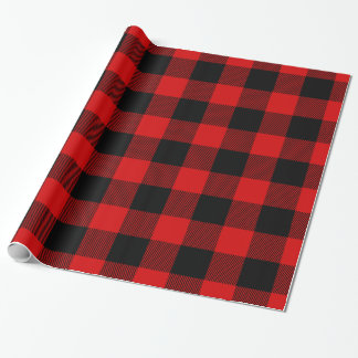 Tartan énorme noir rouge de bûcheron de plaid de papier cadeau noël