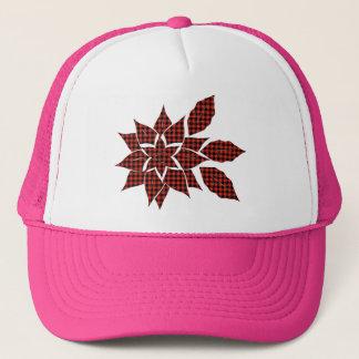 Tartan flower trucker hat