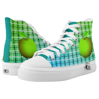 Tartan Green Apple Neon Vibrant Radiant Modern High Tops