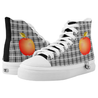 Tartan Grey Apple Red Cartoon Cool Trendy Modern High Tops