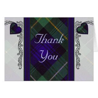 Tartan & hearts - Thank you - Campbell of Argyll Card