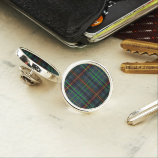Tartan in blue, orange, green... lapel pin