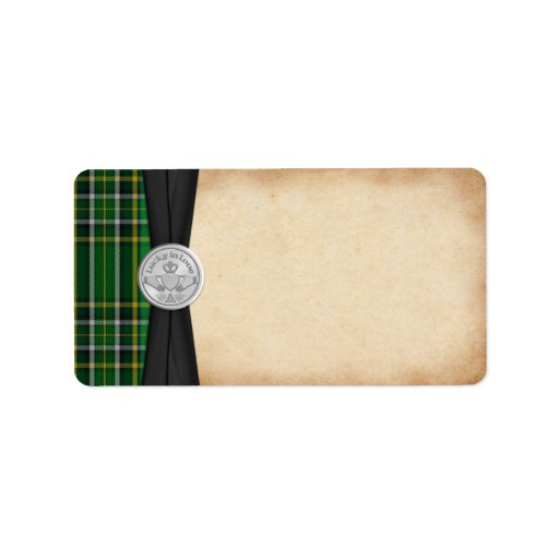 Tartan irlandais Claddagh épousant l'étiquette de  Étiquettes D'adresse