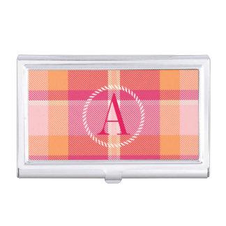 Tartan Orange and Pink Monogram ID210 Business Card Holder