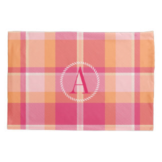 Tartan Orange and Pink Monogram ID210 Pillowcase