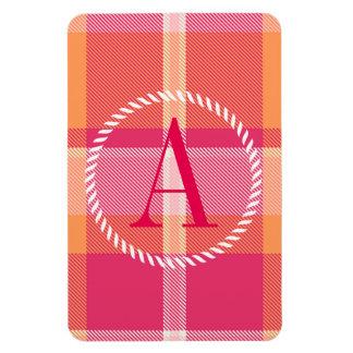 Tartan Orange and Pink Monogram ID210 Rectangular Photo Magnet