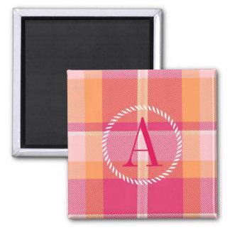 Tartan Orange and Pink Monogram ID210 Square Magnet
