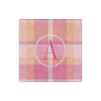 Tartan Orange and Pink Monogram ID210 Stone Magnets