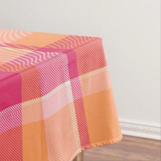 Tartan Orange and Pink Monogram ID210 Tablecloth