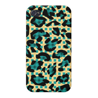 Tartan Pattern Leopard Skin iPhone 4 Case