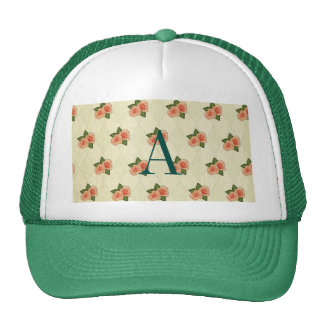 tartan pattern, pastels,vintage,floral,roses trucker hat
