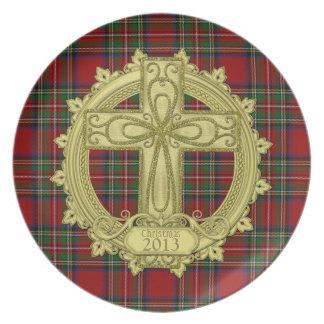 Tartan Plaid Celtic Knot Cross Christmas Xmas Dinner Plates