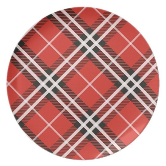 Tartan Plaid Melamine Christmas Serving Plate
