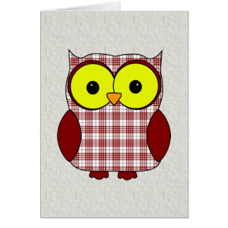 Tartan Plaid Owl V8 Birthday Card