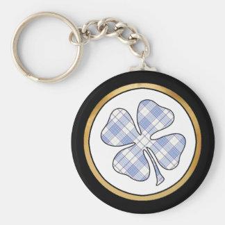 Tartan Plaid Pattern Collection - Blue 04 Basic Round Button Keychain