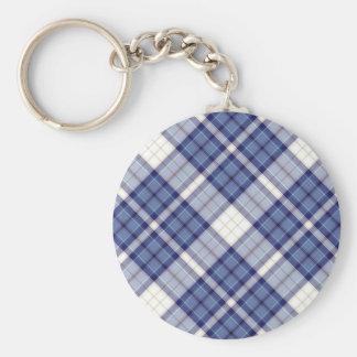 Tartan Plaid Pattern Collection - Blue 07 Basic Round Button Keychain