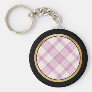 Tartan Plaid Pattern Collection - Pink 07 Basic Round Button Keychain