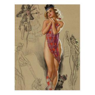 Tartan Plaid Pin Up Art Postcard