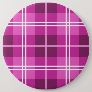 Tartan Plaid Style Pattern in Shades of Pink 6 Inch Round Button