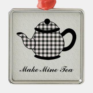 Tartan Plaid Teapot V3 Metal Ornament