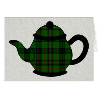 Tartan Plaid Teapot V6 Birthday Card