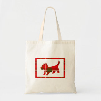 Tartan Puppy on Budget Tote Bag
