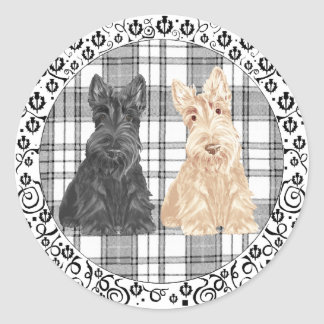 Tartan Scotties Classic Round Sticker