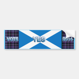 Tartan Scottish Independence Yes 2014 Flag Bumper Sticker