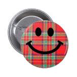 Tartan Scottish Smiley 2 Inch Round Button