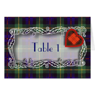 Tartan Table number card - Farquarson