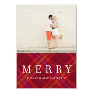 Tartan Tidings Merry Plaid Gingham Holiday Card