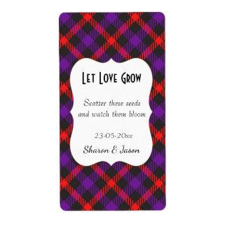 Tartan Wedding Favor Seed Pack Label Let Love Grow Shipping Label