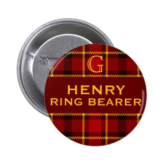 Tartan Wedding Party Ring Bearer 2 Inch Round Button